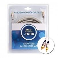 Crono kabel propojovací Cinch / Cinch - stereo, 2x Cinch (samec) / 2x Cinch (samec), vysoká kvalita, 3m