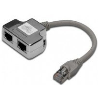 Digitus Adaptér, Patch Cable, CAT5E RJ45 M, 2 X RJ45 F, 0,19metru
