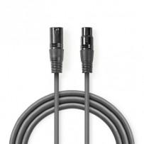 Nedis COTH15012GY10 - Digitální DMX Kabel 110 Ohmů | XLR 3pinová Zástrčka – XLR 3pinová Zásuvka | 1 m | Šedá barva