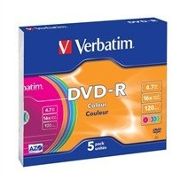 VERBATIM DVD-R AZO 4,7GB, 16x, colour, slim case 5 ks