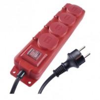 Emos prodlužovací šňůra P14101 - 4 zásuvky, 10m, 16A, s vypínačem, venkovní IP44, červená