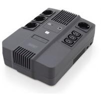DIGITUS UPS vše-v-jednom, 800VA / 480W, LED 12V / 9Ah x1, 4x CEE 7 / 7,3x IEC C13, USB, RJ45