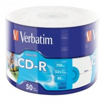 VERBATIM CD-R 700MB, 52x, printable, wrap 50 ks