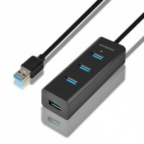 AXAGON HUE-S2BL, 4x USB3.0 CHARGING hub 1.2m kabel, micro USB nap. konektor
