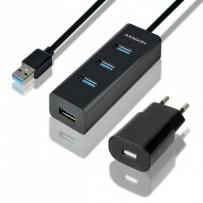 AXAGON HUE-S2BP, 4x USB3.0 CHARGING hub 1.2m kabel, vč. AC adapteru
