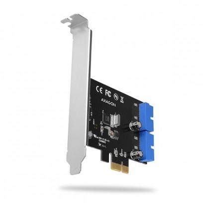AXAGON PCEU-034VL, PCIe řadič, 2x interní 19-pin USB3.2 Gen 1 port, UASP, vč. LP