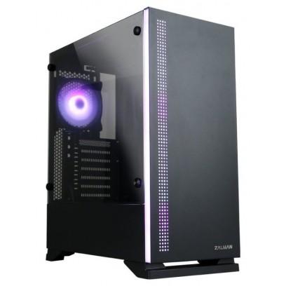 Zalman case miditower S5 černá, bez zdroje, ATX, 1x USB 3.0, 2x USB 2.0, průhledná bočnice, černá
