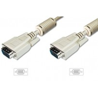 Digitus Připojovací kabel monitoru VGA, HD15 M/M, 10 m, 3Coax/7C, 2xferit, be