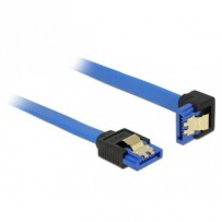Delock Cable SATA 6 Gb/s receptacle straight - SATA receptacle downwards angled 20 cm blue with gold clips