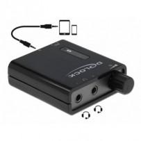 Delock přenosný zesilovač pro stereofonní sluchátka s duálním výstupem a zesilovačem basů