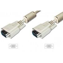 Digitus Připojovací kabel monitoru VGA, HD15 M/M, 5 m, 3Coax/7C, 2xferit, be
