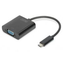 DIGITUS Adaptér USB typu C na VGA, délka kabelu Full HD 1080p: 19,5 cm, černá
