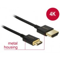 Delock Kabel High Speed HDMI s Ethernetem - HDMI-A samec - HDMI Mini-C samec 3D 4K 1 m Slim Premium