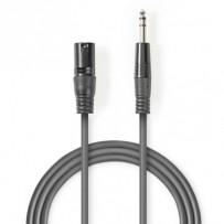 Nedis COTH15100GY50 - Vyvážený XLR Audiokabel | XLR 3pinová Zástrčka – 6,35mm Zástrčka | 5 m | Šedá barva