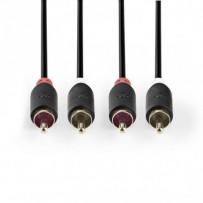 Nedis CABW24200AT10 - Stereofonní Audio Kabel | 2x RCA Zástrčka - 2x RCA Zástrčka | 1 m | Antracit
