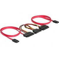 Kabel HDD SATA All-in-One (50 cm) pro 2 HDD, SATA napájení