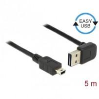Delock Kabel EASY-USB 2.0 Typ-A samec pravoúhlý nahoru / dolů - USB 2.0 Typ Mini-B samec 5 m
