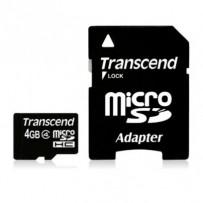 Transcend 4GB microSDHC (Class 4) paměťová karta (s adaptérem)