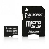 Transcend 4GB microSDHC (Class 10) paměťová karta (s adaptérem)