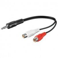PremiumCord Kabel Jack 3.5mm-2xCINCH M/F 20cm