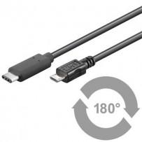 PremiumCord Kabel USB 3.1 konektor C/male - USB 2.0 konektor Micro-B/male, 1m