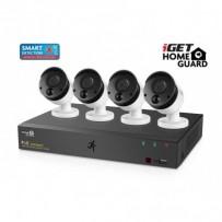 iGET HOMEGUARD HGNVK85304 - Kamerový PoE systém se SMART detekcí pohybu, 8-kanálový FullHD 1080p rekordér NVR