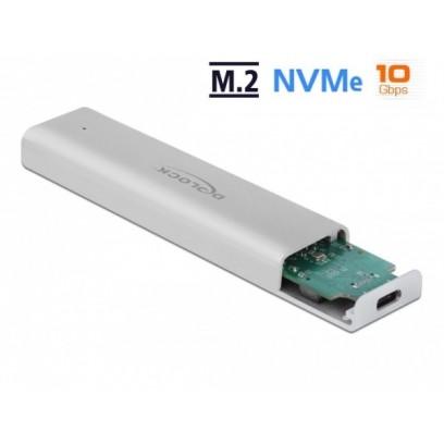 Delock Externí pouzdro pro M.2 NVMe PCIe SSD se SuperSpeed USB 10 Gbps (USB 3.2 Gen 2) USB Type-C™ samice