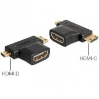 Delock adaptér HDMI-A samice - HDMI-C + HDMI-D samec