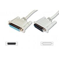Digitus Prodlužovací kabel datového přenosu, sériový/paralelní, D-Sub25, samec/samice, 2,0 m, lisovaný,