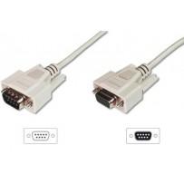 Digitus sériový kabel prodlužovací DB9 M/F 3m, lisovaný, šedý