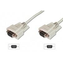 Digitus sériový kabel připojovací DB9 F/F, Měď, 3m šedý