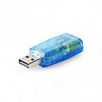 Nedis USCR10051BU - Zvuková Karta | 3D zvuk 5.1 | USB 2.0 | Dvojitý Konektor 3,5 mm