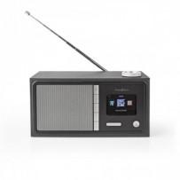"""Nedis RDIN3000BK - Internetové Rádio -Stolní Provedení/Bluetooth/Wi-Fi /FM/Internet/2,4""""/18W/Budík/Časovač vypnutí/Černá"""