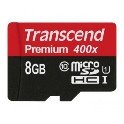 Transcend 8GB microSDHC UHS-I 400x Premium (Class 10) paměťová karta (bez adaptéru)