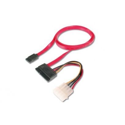 Digitus Připojovací kabel SATA, SATA22pin - L-typ + napájení F / F, 0,5m, přímý, SATA II / III, re