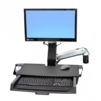 ERGOTRON StyleView® Sit-Stand Combo Arm s prac. plochou,nástěnný držák do lišty LCD, klávesnice+ myš,sklopný,černý