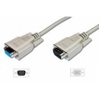 Digitus prodlužovací kabel pro VGA monitor, stíněný, šedý, měď, 1,8m