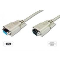 Digitus prodlužovací kabel pro VGA monitor, stíněný, šedý, měď, 3m