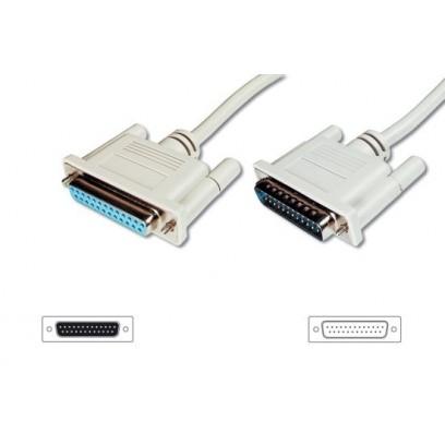 Digitus Prodlužovací kabel datového přenosu, sériový/paralelní, D-Sub25, samec/samice, 5,0 m, lisovaný,