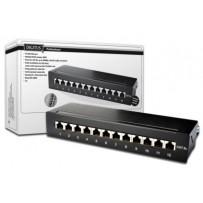 DIGITUS Desktop CAT 6A Patch Panel, stíněný třídy EA, 12 portů RJ45, 8P8C, LSA