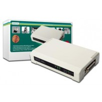 Digitus USB a paralelní tiskový server, 3 porty 1x RJ45, 2x USB A, 1x Centronics DB-36-pinová samec
