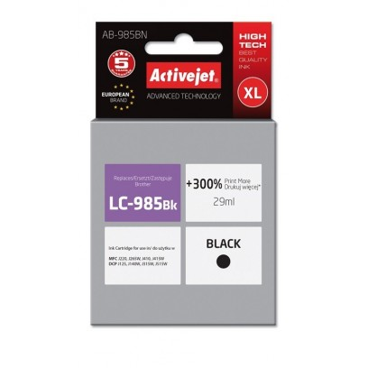 ActiveJet ink cartr. Brother LC-985Bk - 29 ml - 100% NEW AB-985BN (AB-985Bk)