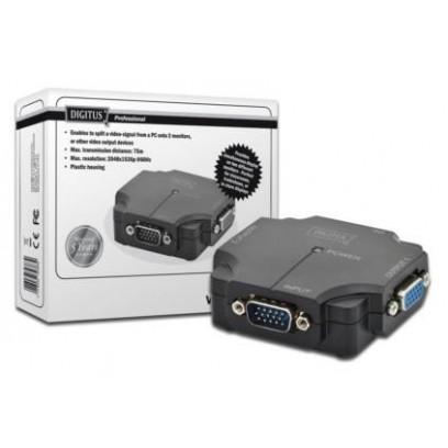 DIGITUS VGA rozbočovač, 2portový, plastové pouzdro, 350 MHz, HDSUB 15 / M - 2x HDSUB 15 / F Max. rozlišení. 2048 x 1536p