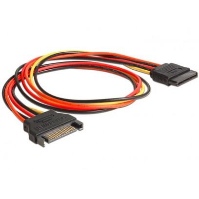 Delock napájecí kabel SATA 15 Pin samec - SATA 15 Pin samice prodlužující 50 cm