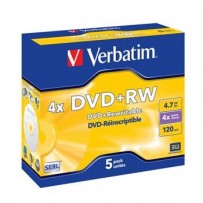 VERBATIM DVD+RW SERL 4,7GB, 4x, jewel case 5 ks