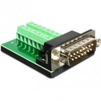 Delock Adaptér Sub-D 15 pinů Gameport samec - svorkovnice 16 pinů