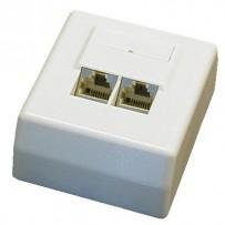 DATACOM Datová zásuvka STP CAT5E 2xRJ45 na omítku 45st. bílá
