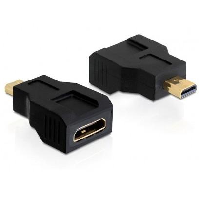 Delock adaptér HDMI mini C samice - HDMI micro D samec