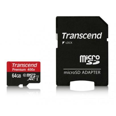 Transcend 64GB microSDXC UHS-I 400x Premium (Class 10) paměťová karta (s adaptérem)