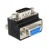 Delock adaptér Sub-D 9 pin samec - samice 90° pravoúhlý matice a šroub měnitelné